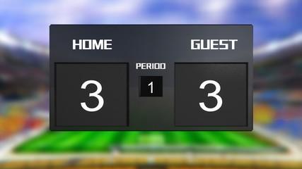 soccer match scoreboard Draws 3 & 3