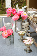 Stylish sweet table on wedding