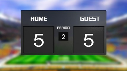 soccer match scoreboard Draws 5 & 5