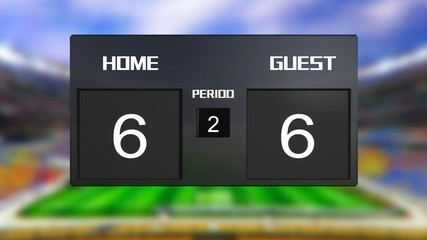 soccer match scoreboard Draws 6 & 6