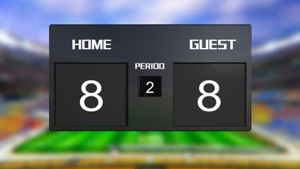 soccer match scoreboard Draws 8 & 8