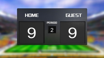 soccer match scoreboard Draws 9 & 9