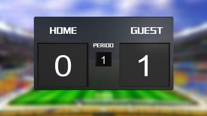 soccer match scoreboard guest win 0 & 1