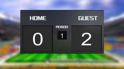 soccer match scoreboard guest win 0 & 2