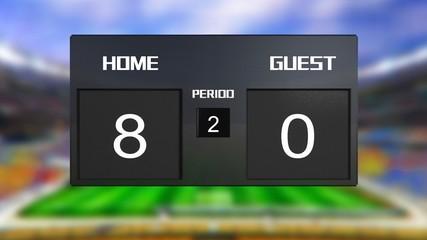 soccer match scoreboard home Wins 8 & 0