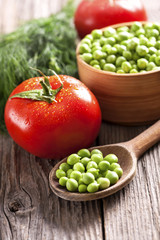 green peas and fresh vegetables