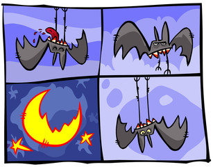 Vampire Bats in cartoon panels.