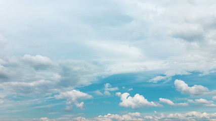 Fluffy White Clouds on Blue Sky, timelapse