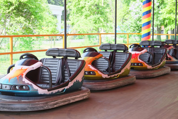 Row of  Cars on  Amusement Ride