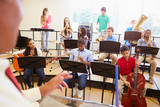 Fototapety Pupils Playing Musical Instruments In School Orchestra