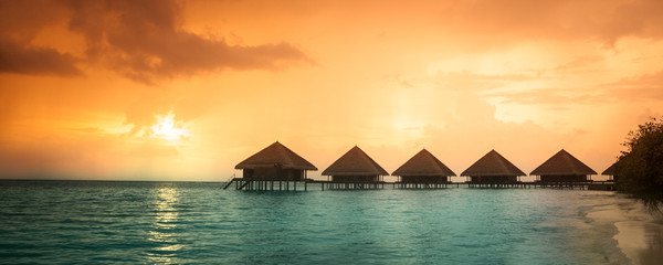 Over water bungalows with steps
