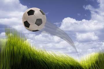 Soccer ball flying.