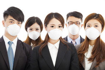 businesses people wearing a mask to express problems