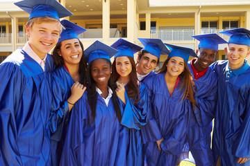 Group Of High School Students Celebrating Graduation