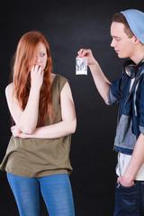 Drug dealer and addicted teenage girl