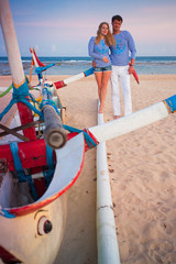 husband with his wife near the blue ocean, couple just married