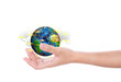 Hand hold earth of social network (Elements of this image furnis