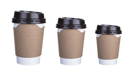 Three size of Paper cup of coffee Isolated white background