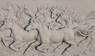 Horses bass-relief