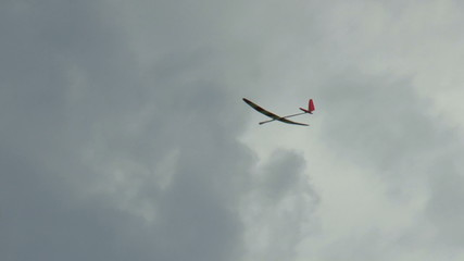 RC Glider Fly in the Clouds Sky Background, tracking