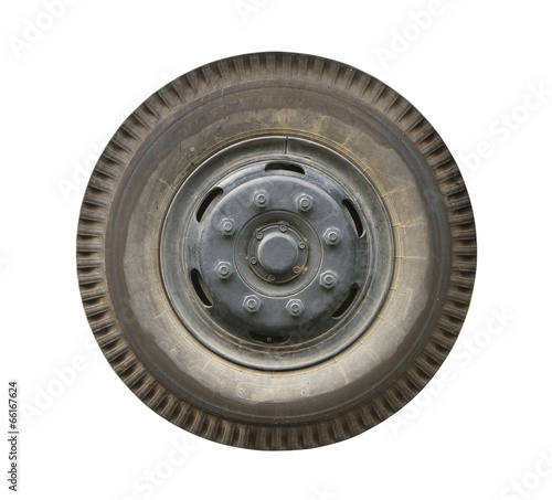 Truck wheel (with clipping path) isolated on white background - 66167624