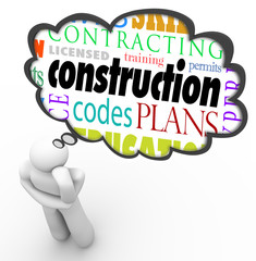 Construction License Permit Code Builder Words Thought Cloud Thi