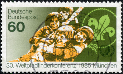 stamp printed in Germany from shows world scout conference