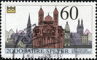 stamp printed in the Germany,shows the Speyer Cathedral