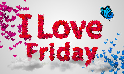 I love Friday Particles Red Heart Shape 3D