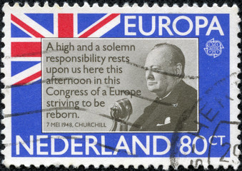 stamp printed in Netherlands shows Sir Winston Churchill