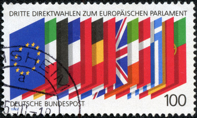 stamp printed in Germany shows the flags of the EU