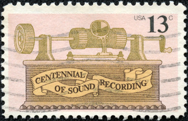 stamp shows Foil phonograth, centennial of sound recording