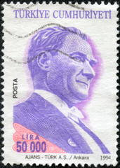 stamp printed by Turkey, shows president Kemal Ataturk