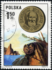 stamp printed in POLAND shows Benedikt Dybowski