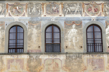 Facade of house is decorated with fresco in florence, toscany, i