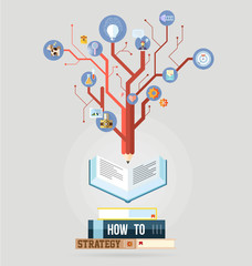 Book with knowledge business strategy plan concept vector
