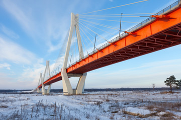 Winter view of  bridge through Oka River
