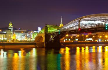 Pedestrian Bogdan Khmelnitsky Bridge in summer night