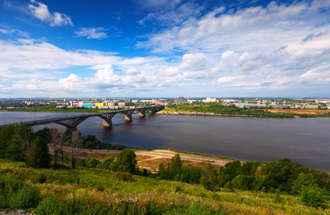 View of Nizhny Novgorod with Molitovsky bridge