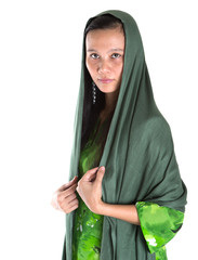 Asian Muslim woman in a green headscarf over white background
