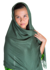 Muslim woman with a green headscarf