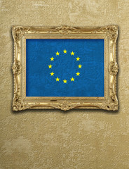 Flag from Europe exposition in gold frame