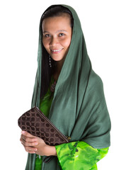 Muslim woman with a headscarf and a purse over white