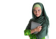 Muslim woman in hijab with a laptop
