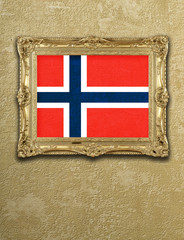 Flag from Norway exposition in gold frame