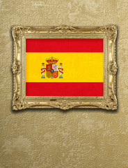 Flag from Spain exposition in gold frame