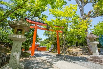 shrine entrance, Japanese shrine gate Kyoto, Japan,16 May 2014