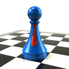 Blue pawn with red ties on desk