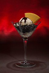 Cookies and ice cream in a Martini glass