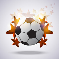 Abstract soccer ball, background with stars